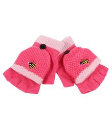 Flaunt Chic Honey Bee Embroidered Gloves - Pink