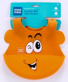 Mee Mee Water Resistant Drooler Bib with Pocket - Orange