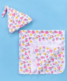 Mom's Love Wrapper With Cap Heart Print - White Pink