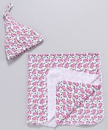 Mom's Love Wrapper With Cap Unicorn Print - White Peach