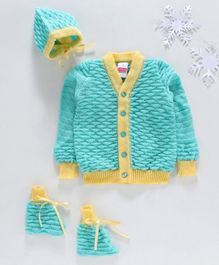 Babyhug Full Sleeves Sweater With Cap & Booties Geometrical Design - Turquoise Blue