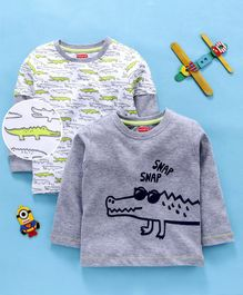 Babyhug Full Sleeves Crocodile Print Tees Pack of 2 - Multicolor
