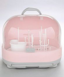 2 in 1 Bottle Drying Rack With Storage Box - Pink