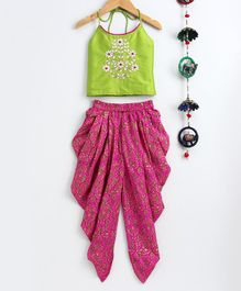 Twisha Sleeveless Flower Embroidered Top With Printed Dhoti - Green & Pink