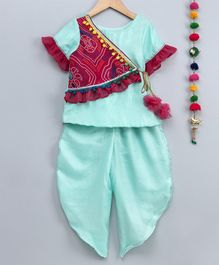 Many Frocks & Half Sleeves Bandhini Overlap Koti Attached Top And Dhoti Set - Blue