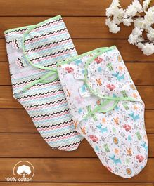 Babyhug Swaddle Wrapper 100% Cotton Printed Set of 2 - White & Green