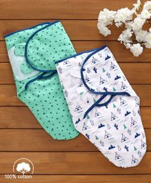 Babyhug Swaddle Wrapper 100% Cotton Printed Set of 2 - Green & Blue