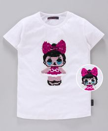 MAGIC TEES Half Sleeves Reverse Sequinned Doll Patch Tee - Pink