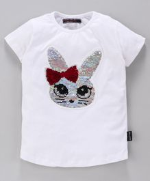 MAGIC TEES Half Sleeves Reverse Sequinned Kitty Patch Tee - Pink