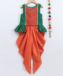 Many Frocks & Dot Printed Sleeveless Peplum Top & Dhoti Set - Orange & Green