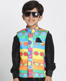 JBN Creation Sleeveless Googles Print Colour Block Jacket - Multi Colour
