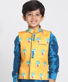 JBN Creation Sleeveless Milkshake Print Jacket - Yellow
