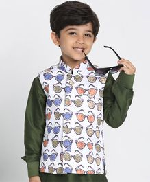 JBN Creation Shades on Shades Digital Print Boys Nehru/Modi Jacket - Dusty Colours