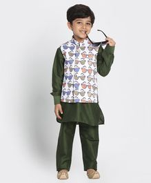 JBN Creation Full Sleeves Kurta With Shades Print Jacket & Pajama - Green