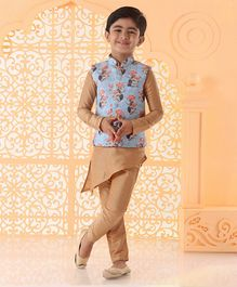 JBN Creation Full Sleeves Kurta With Flower Print Jacket & Pajama - Beige