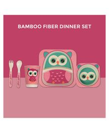 Polka Tots Bamboo Night Owl Theme Fiber Kids Crockery Dining Set - 5 Pieces