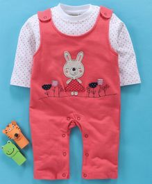 Wonderchild Full Sleeves Polka Dot Print Tee With Bunny Patch Sleeveless Romper - Peach
