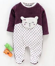 Wonderchild Full Sleeves Polka Dot Print Romper - Purple