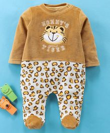 Wonderchild Full Sleeves Tiger Patch Romper - Brown