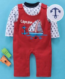 Wonderchild Full Sleeves Nautical Print Tee With Sleeveless Romper - Red