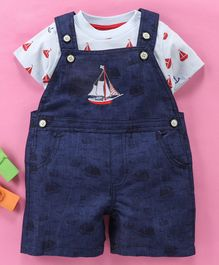 Wonderchild Half Sleeves Boat Print Tee With Dungaree - Blue