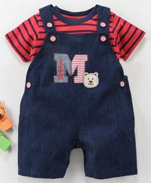 Wonderchild Half Sleeves Striped Tee With Dungaree - Blue