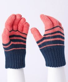 Model Striped Hand Gloves - Blue Coral