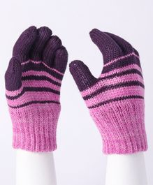Model Striped Hand Gloves - Purple Pink