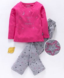 Fido Full Sleeves Night Suit Text & Star Print - Fuchsia Pink & Grey