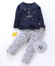 Fido Full Sleeves Night Suit Text & Star Print - Navy Blue