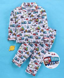 Fido Full Sleeves Night Suit Vehicle Print - Melange
