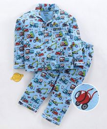 Fido Full Sleeves Night Suit Vehicle Print - Blue