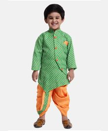BownBee Leheriya Print Full Sleeves Kurta With Dhoti - Green