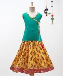 BownBee Sleeveless Angrakha Kurta With Sanganeri Print Lehenga - Green & Yellow