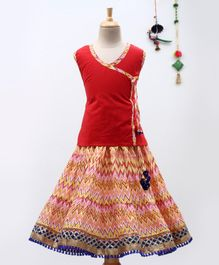 BownBee Sleeveless Angrakha Kurta With Zig Zag Print Lehenga - Red