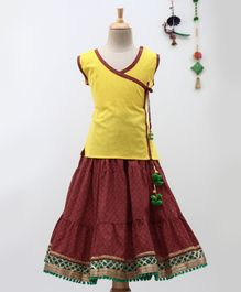 BownBee Sleeveless Angrakha Kurta With Sanganeri Print Lehenga - Yellow