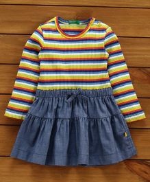 UCB Full Sleeves Striped Party Wear Frock - Multicolor