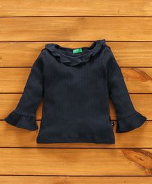 UCB Full Sleeves Solid Color Top - Navy Blue