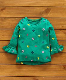 UCB Full Sleeves Top Alphabet Print - Green