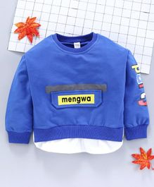 Meng Wa Full Sleeves Solid Winter Wear Tee - Blue
