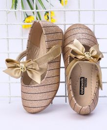 Cute Walk by Babyhug Stripe Belly Shoes With Bow Motif - Golden