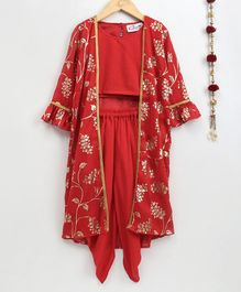 M'andy Gold Foil Flower Printed Cape With Sleeveless Blouse & Dhoti Set - Red