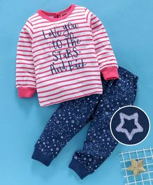 Babyhug Full Sleeves Night Wear Text & Star Print - Pink Blue