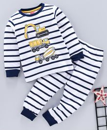 Babyhug Full Sleeves Stripe Night Suit Construction Vehicle Print - White Navy Blue