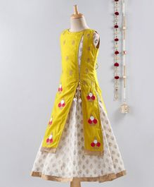 Dhyana Fashions Flower Embroidered Sleeveless Attached Jacket With Gown  - Yellow & White