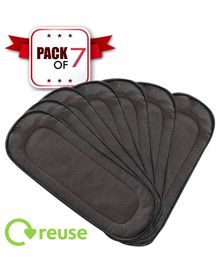 Ole Baby Premium 5 Layer Bamboo Charcoal Reusable Cotton Nappy Inserts Grey - Pack Of 7