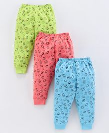Mini Donuts Multi Lounge Pants Sports Print Pack of 3 - Green Blue Peach