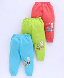 Mini Donuts Multi Lounge Pants Cartoon Print Pack of 3 - Blue Green Coral