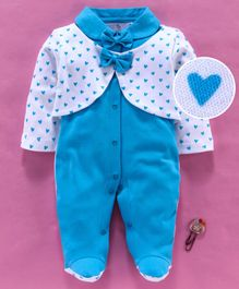 Baby Go Full Sleeves Footed Romper With Attached Shrug And Bows Heart Print - Blue White