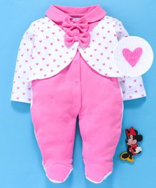 Baby Go Full Sleeves Footed Romper With Attached Shrug And Bows Heart Print - Pink White